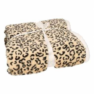 Bankdeken beige cheetah print 140 x 200 cm