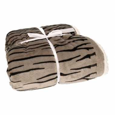 Bankdeken grijze zebra print 140 x 200 cm
