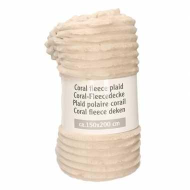 Beige fleece plaid/dekentje strepen rellief 150 x 200 cm