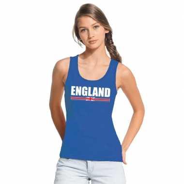 Blauw engeland supporter singlet shirt/ tanktop dames