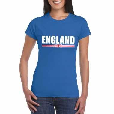 Blauw engeland supporter t-shirt voor dames