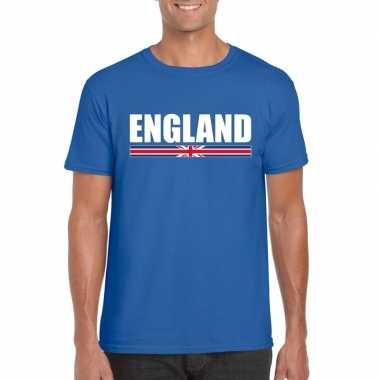 Blauw engeland supporter t-shirt voor heren