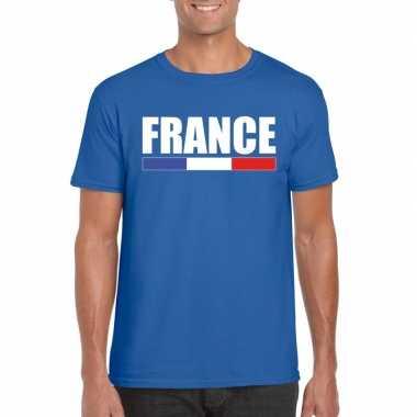 Blauw frankrijk supporter t-shirt voor heren