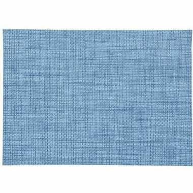 Blauw gevlochten placemat van kunststof 45 x 30 cm