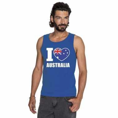 Blauw i love australie fan singlet shirt/ tanktop heren