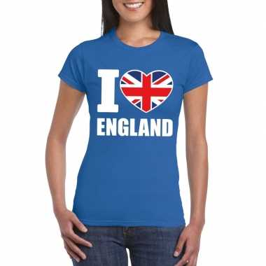 Blauw i love engeland fan shirt dames