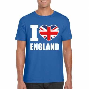 Blauw i love engeland fan shirt heren