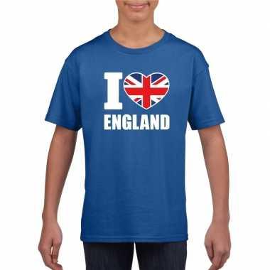 Blauw i love engeland fan shirt kinderen