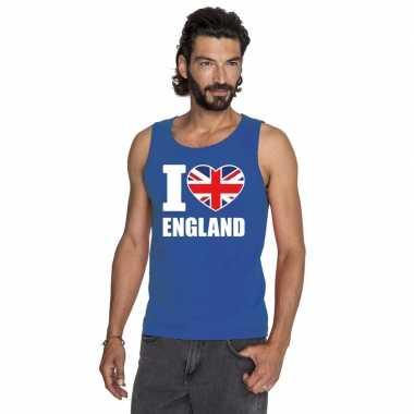 Blauw i love groot-brittannie fan singlet shirt/ tanktop heren