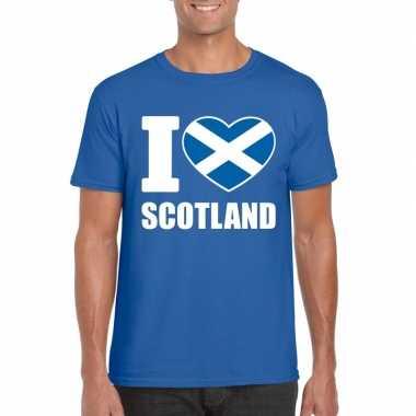 Blauw i love schotland fan shirt heren