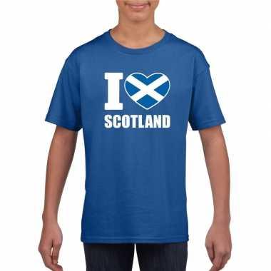 Blauw i love schotland fan shirt kinderen