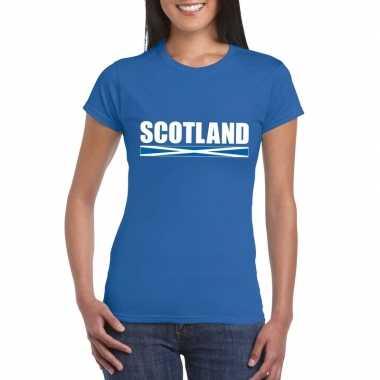 Blauw schotland supporter t-shirt voor dames