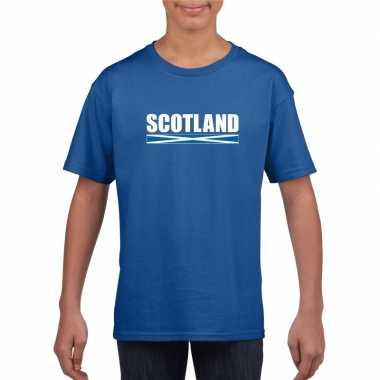 Blauw schotland supporter t-shirt voor kinderen