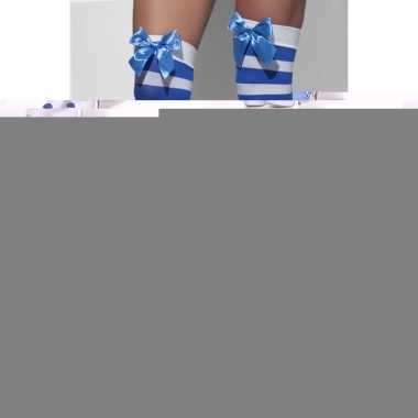 Blauw wit gestreepte matrozen kousen met strikje