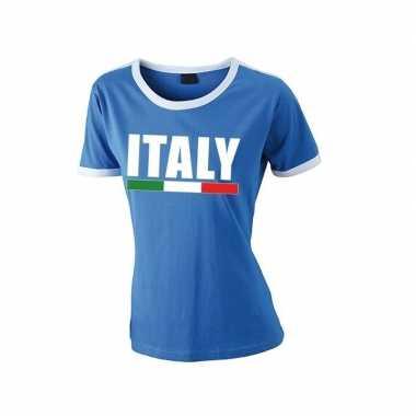 Blauw/ wit italie supporter ringer t-shirt voor dames