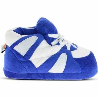Blauw/witte sneaker model sloffen/pantoffels voor heren