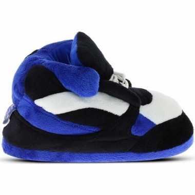 Blauw/zwart/witte sneaker model sloffen/pantoffels voor heren