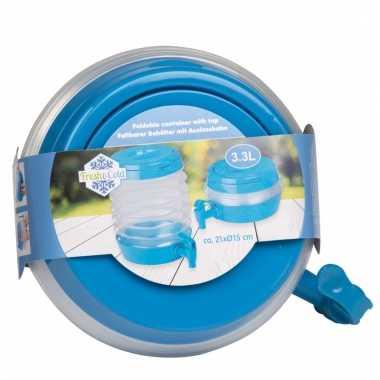 Blauwe opvouwbare drank dispenser met tap 3 3 liter