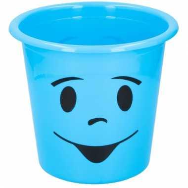 Blauwe prullenbak met smiley