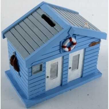 Blauwe strandhuizen spaarpot 13 cm