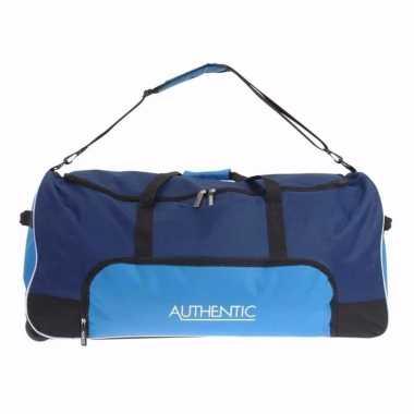 Blauwe weekend tas met wieltjes 80 cm