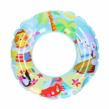 Blauwe zwemband met tropisch strand 51 cm