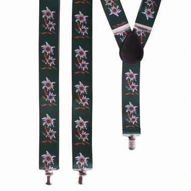 Bloemen bretels groen met wit