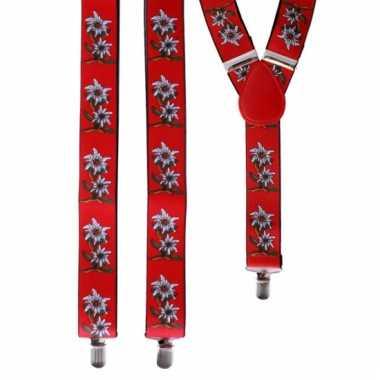 Bloemen bretels rood met wit