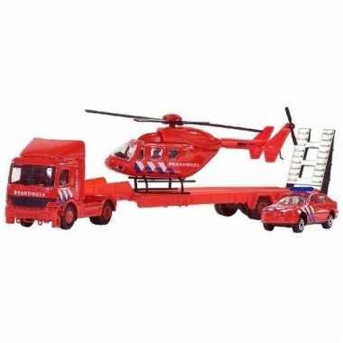 Brandweer set auto/helikopter/vrachtwagen 26 cm