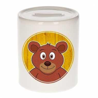 Bruine beren spaarpot van keramiek 9 cm