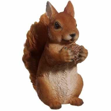 Bruine eekhoorn beeldje 15 cm huiskamer woondecoratie
