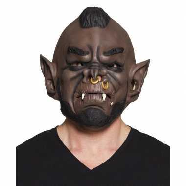Bruine ork horror masker van latex