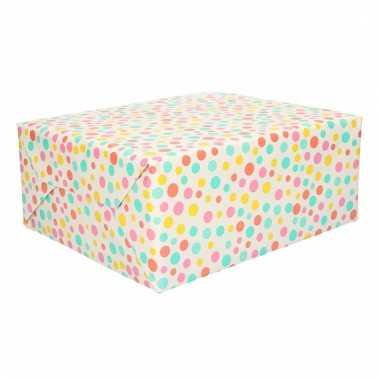 Cadeaupapier gekleurde stippen 70 x 200 cm