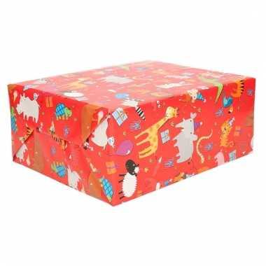 Cadeaupapier met vrolijke dieren 70 x 200 cm