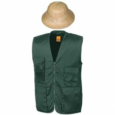 Carnaval/feest groen jungle explorer verkleed setje vest en tropenhel