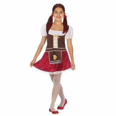 Carnaval/feest oktoberfest verkleedoutfit bruin/rood voor meisjes