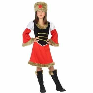 Carnaval/feest russische kozak verkleedoutfit voor meisjes