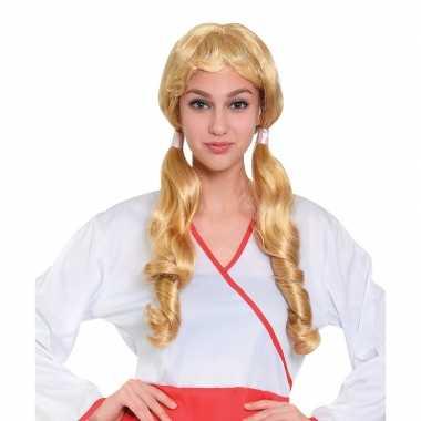 Carnaval pruik blond met staartjes voor dames