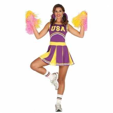 Carnavalskleding cheerleader paars geel voor volwassenen