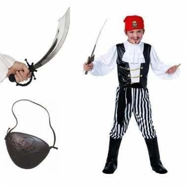 Carnavalskleding piraat maat m compleet voor jongens/meisjes