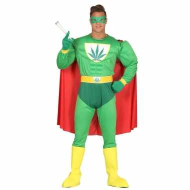 Carnavalspak gespierde superheld marihuana man groen