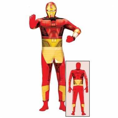 Carnavalspak superheld rood goud voor volwassenen