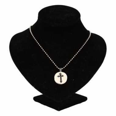 Chunkketting zilveren zwart kruis voor volwassenen