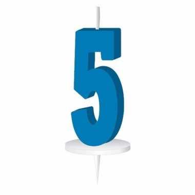 Cijfer kaarsen blauw 5