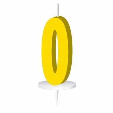 Cijfer kaarsen geel 0