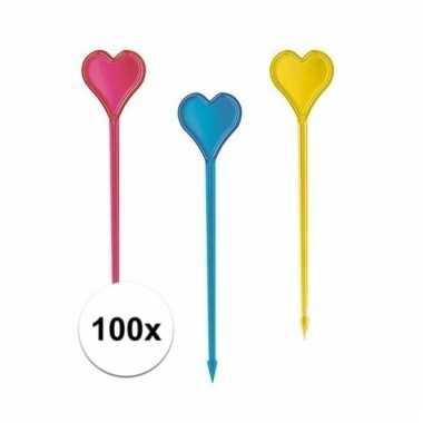 Cocktailprikkers in hartvorm 100 stuks
