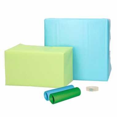 Compleet cadeaupapier pakket blauw groen xs