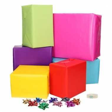 Compleet cadeaupapier pakket gekleurd s