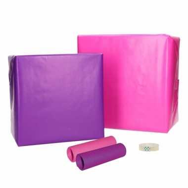 Compleet cadeaupapier pakket roze paars s