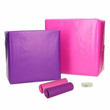 Compleet cadeaupapier pakket roze paars xs
